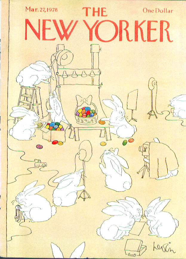 New Yorker cover Levin Easter bunnies set egg 3/27 1978