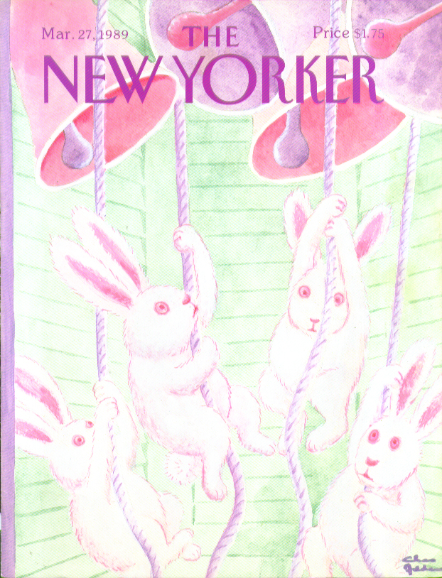 New Yorker cover Addams Easter bunnies ring pink church bells 3/27 1989