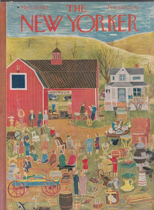 New Yorker cover Karasz country auction barn 3/28 1953