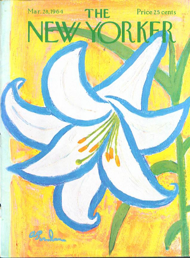 New Yorker cover Birnbaum huge Easter lily 3/28 1964