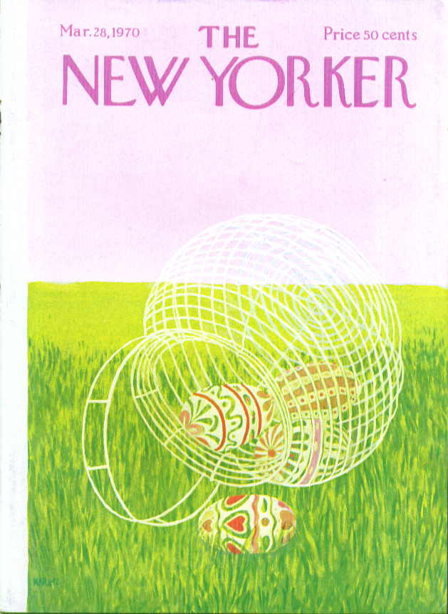 New Yorker cover Karasz Easter egg basket 3/28 1970
