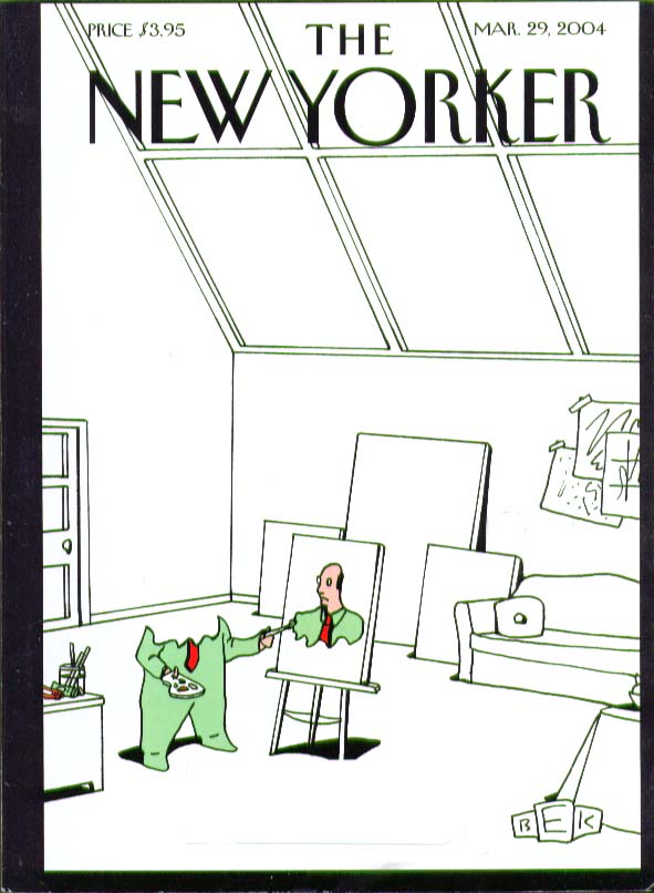 New Yorker cover BEK self-portraiture in skylit studio 3/29 2004