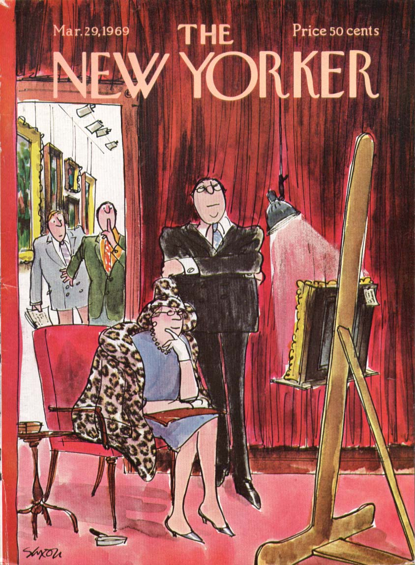 New Yorker cover Saxon matron considers art 3/29 1969