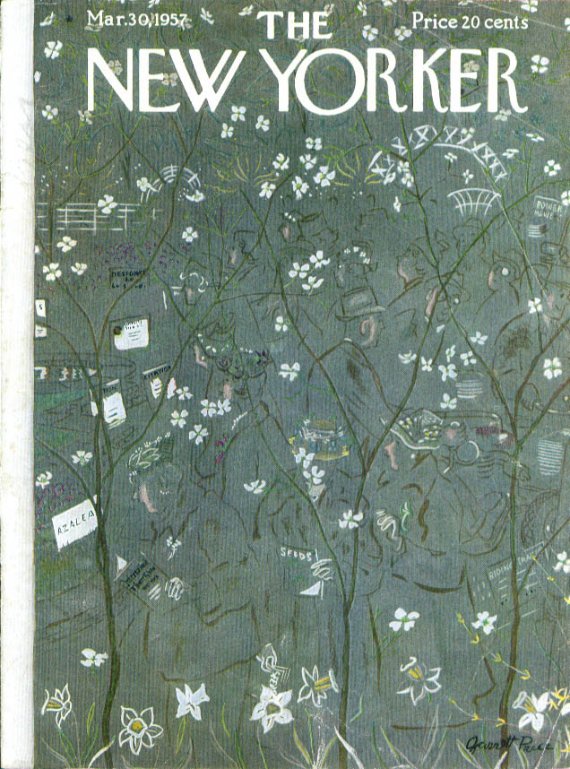New Yorker cover Price amid the flower show 3/30 1957