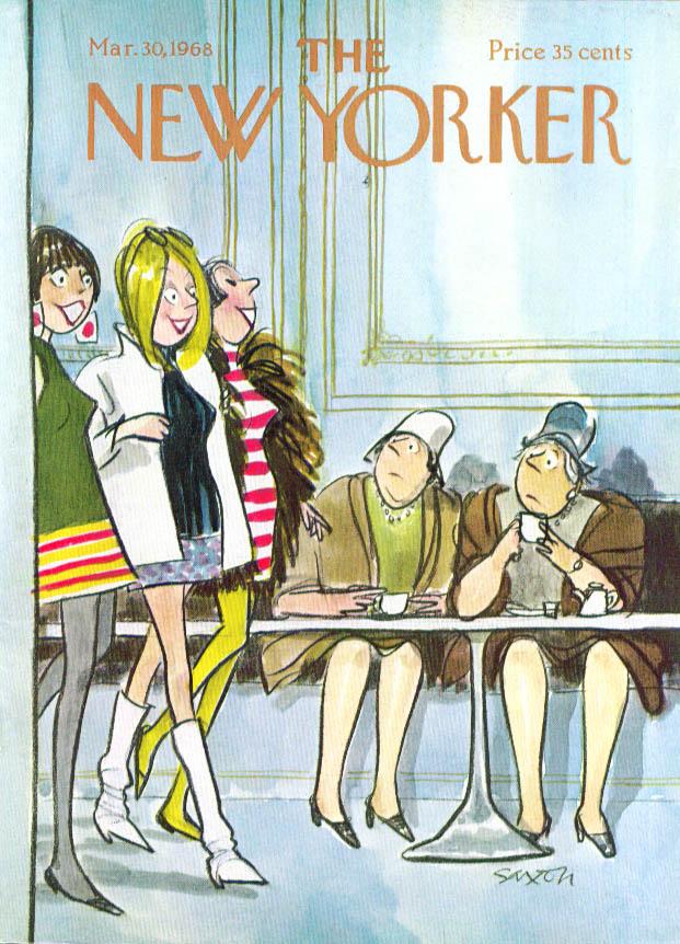 New Yorker cover Saxon matrons eye miniskirts 3/30 1968