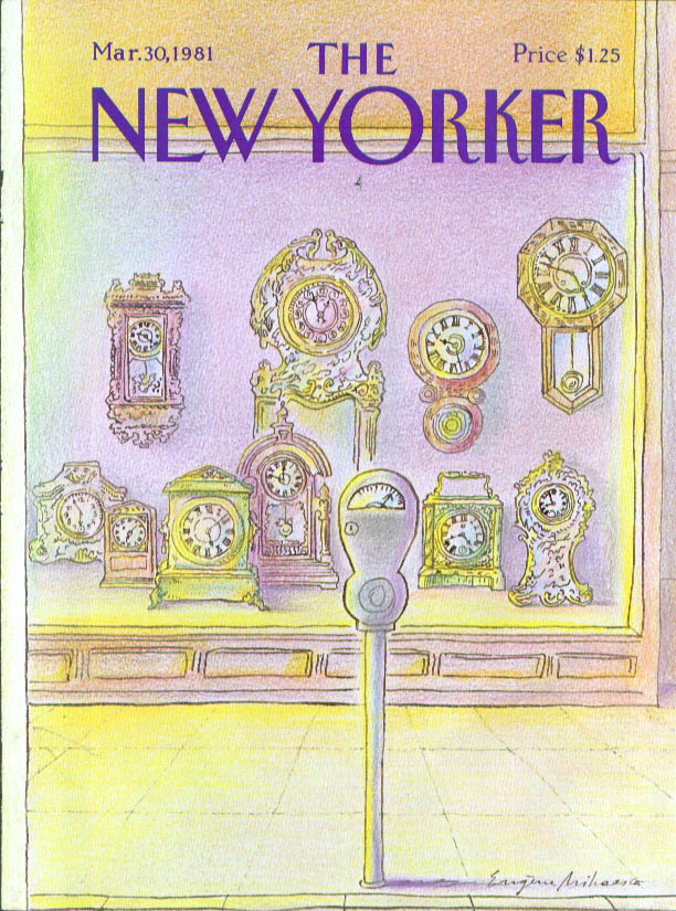New Yorker cover Mihaesco clock shop meter 3/30 1981