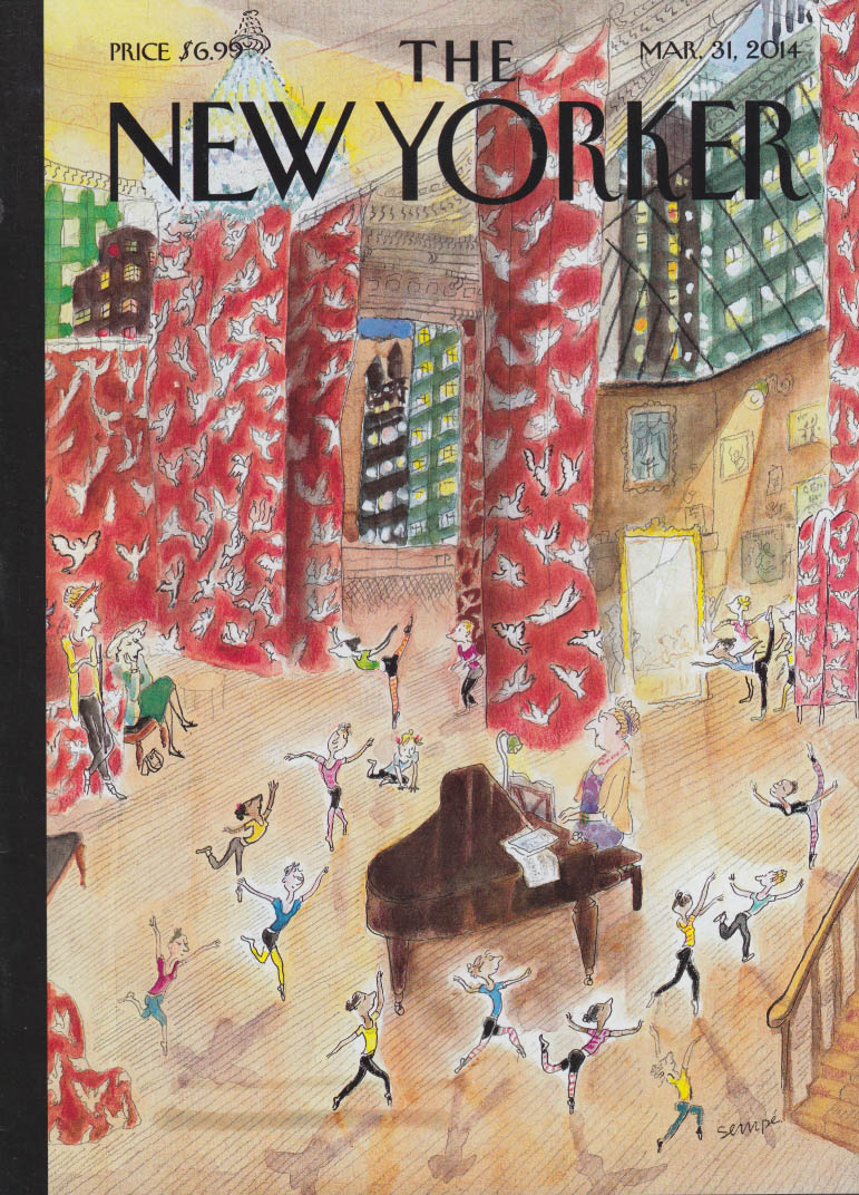 New Yorker cover 3/31 2014 Sempe: girls dance in ballet studio