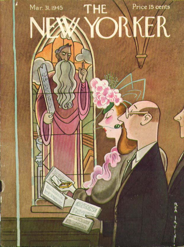 New Yorker cover Irvin make-up check church 3/31 1945