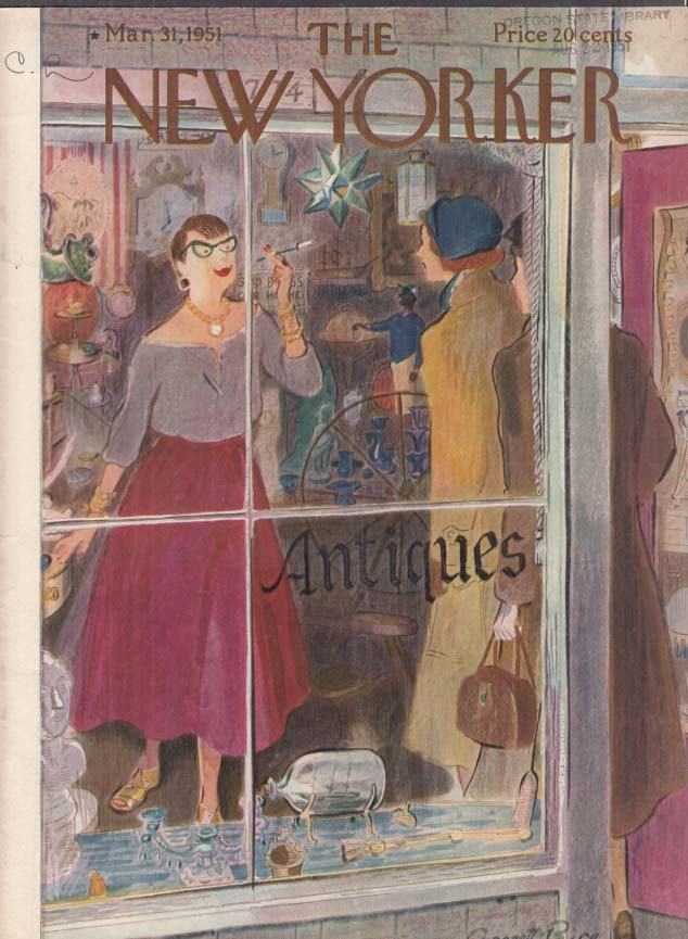 New Yorker cover Price antique shop woman 3/31 1951
