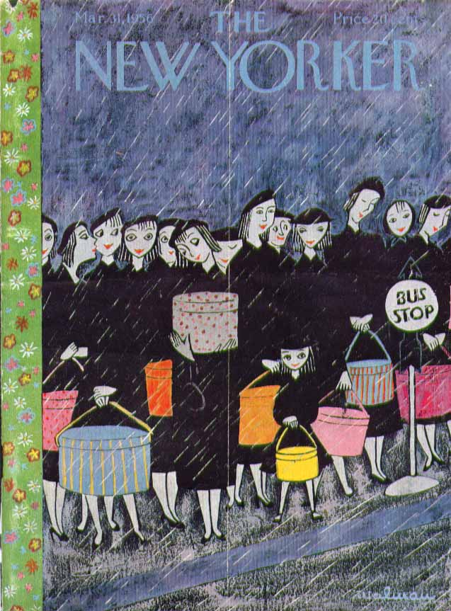 New Yorker cover Malman hatbox brigade bustop 3/31 1956