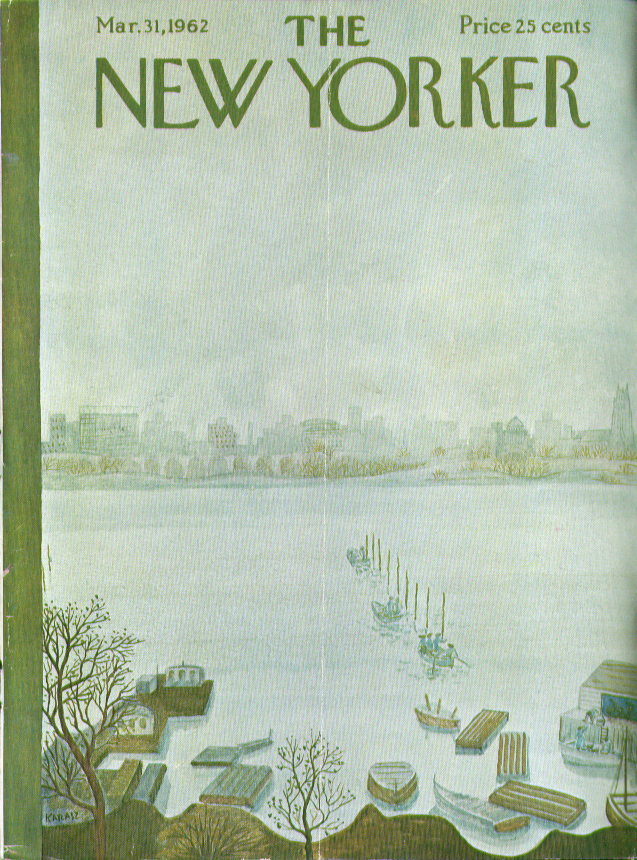 New Yorker cover Karasz 1st boaters on river 3/31 1962