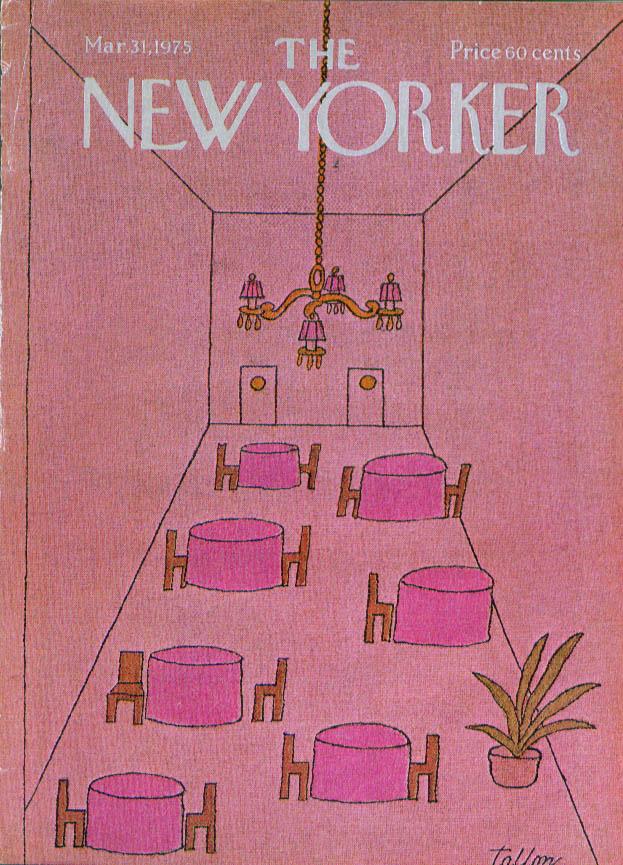 New Yorker cover Tallon empty restaurant 3/31 1975
