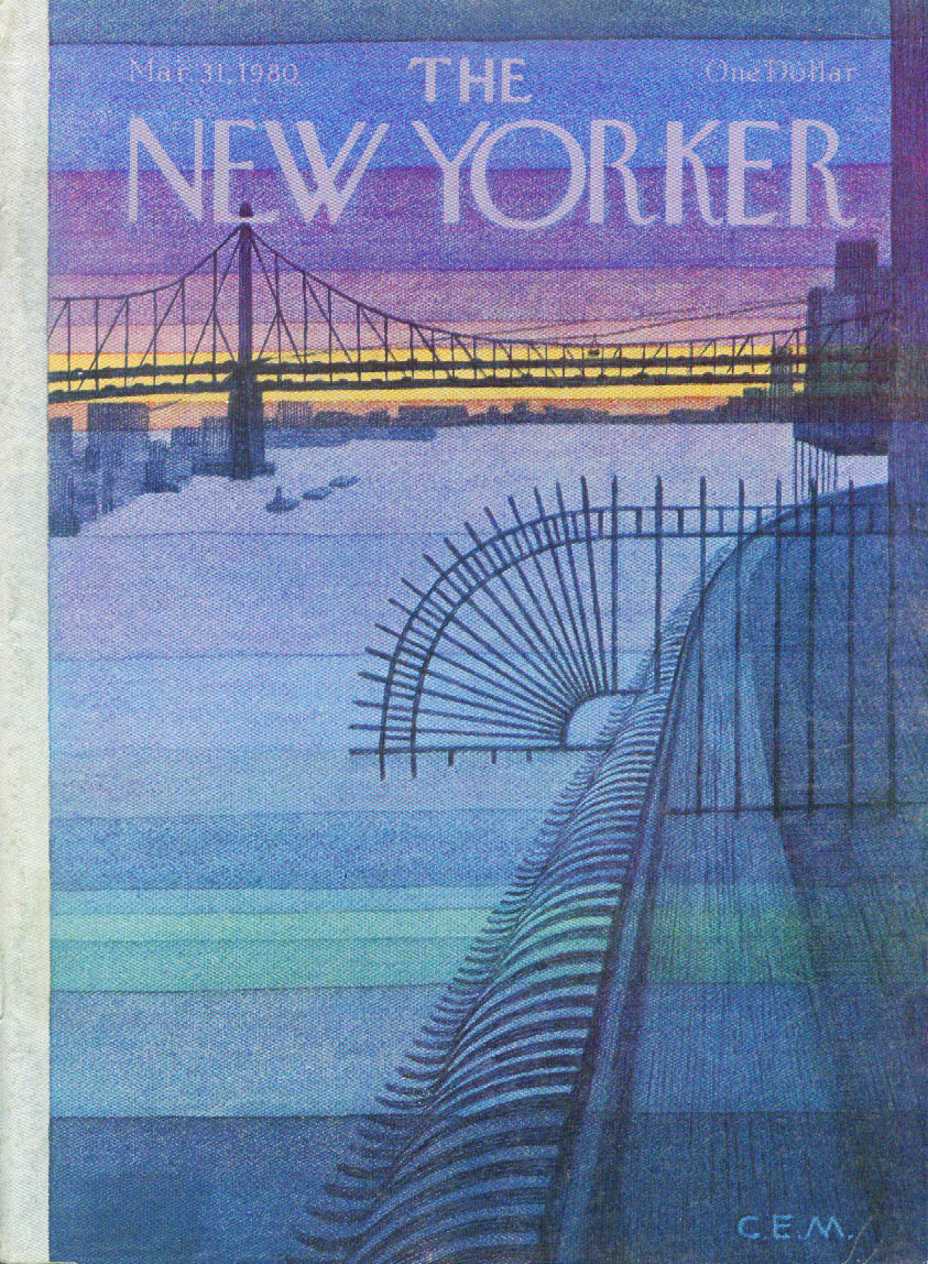 New Yorker cover Charles E Martin 59th St Bridge sunset 3/31 1980