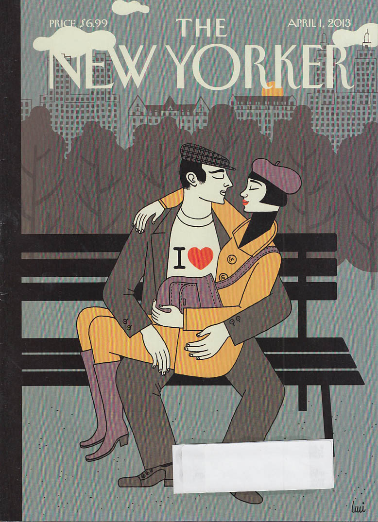 New Yorker cover 4/1 2013 Gutierrez: lovers on park bench