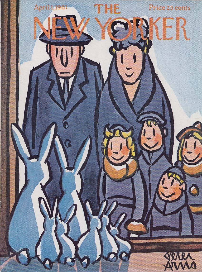 New Yorker cover Arno Family v Easter Bunnies 4/1 1961