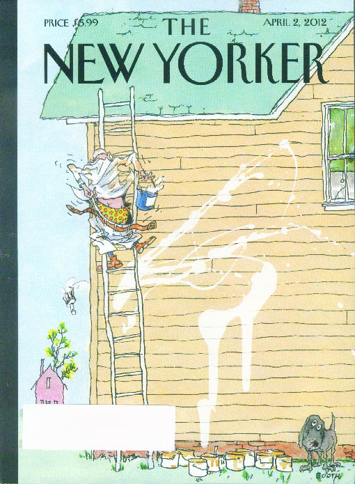 New Yorker cover Booth painter on ladder losing his pants 4/2 2012