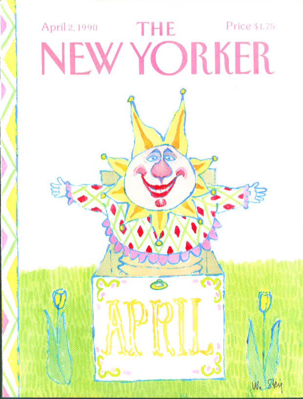 New Yorker cover Steig clown jack-in-the-box 4/2 1990