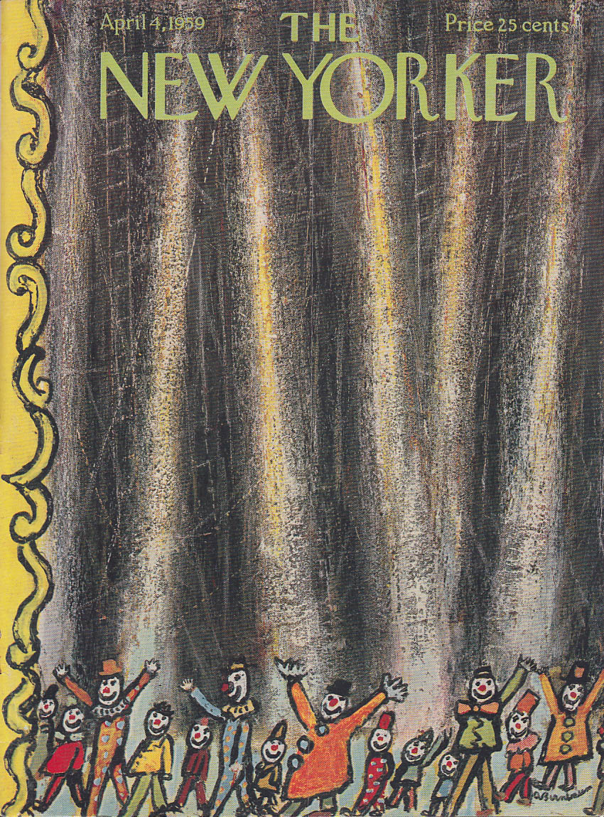 New Yorker cover Birnbaum circus clown parade 4/4 1959
