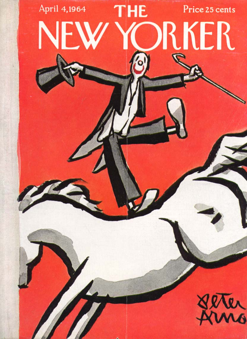 New Yorker cover Arno clown on horseback 4/4 1964