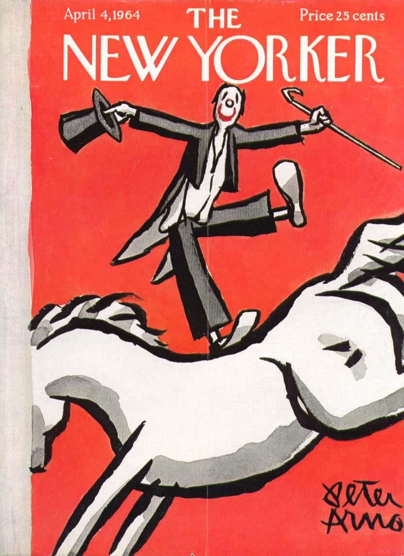 New Yorker cover Arno clown on horseback 4/4 1964