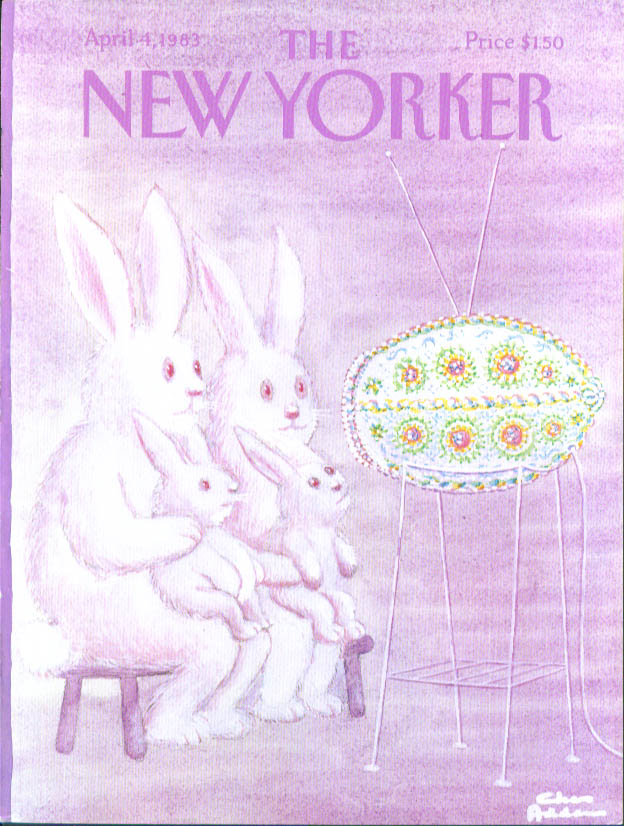 New Yorker cover Addams Easter bunny TV 4/4 1983