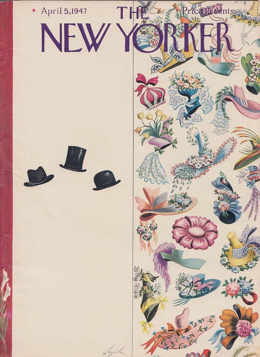 New Yorker cover Alajalov men women Easter hat 4/5 1947