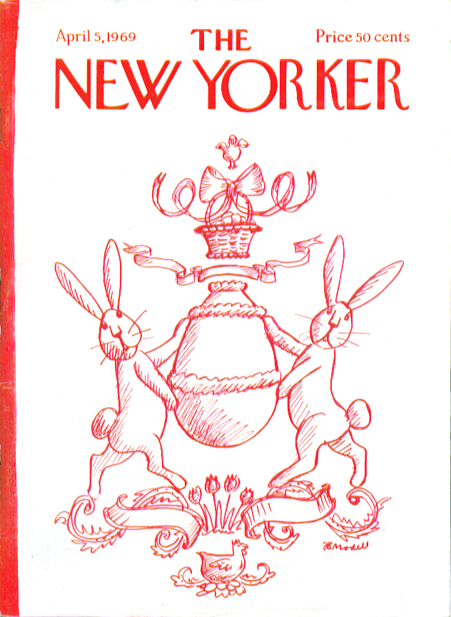 New Yorker cover Modell Easter bunny family crest 4/5 1969