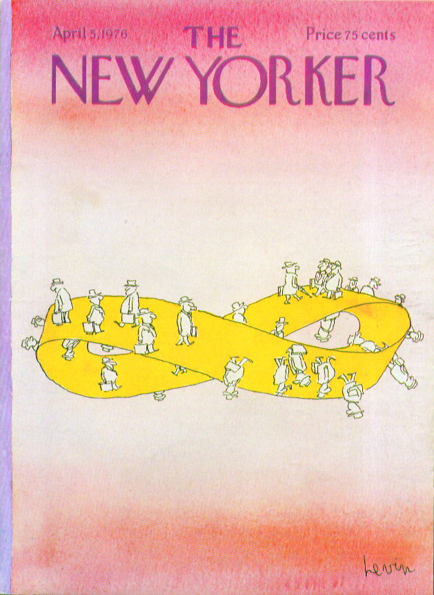 Image for New Yorker cover Levin men Mobius strip 4/5 1976
