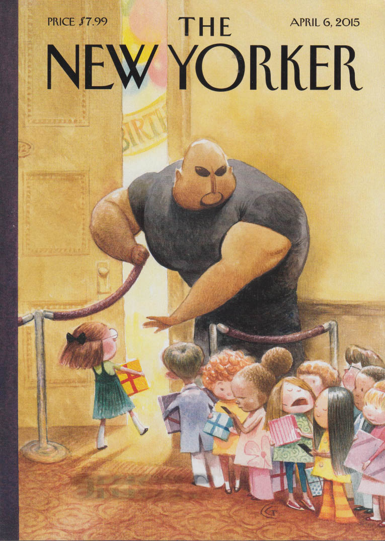 New Yorker cover 4/6 2015 Goodrich: Bouncer admits kids to birthday party