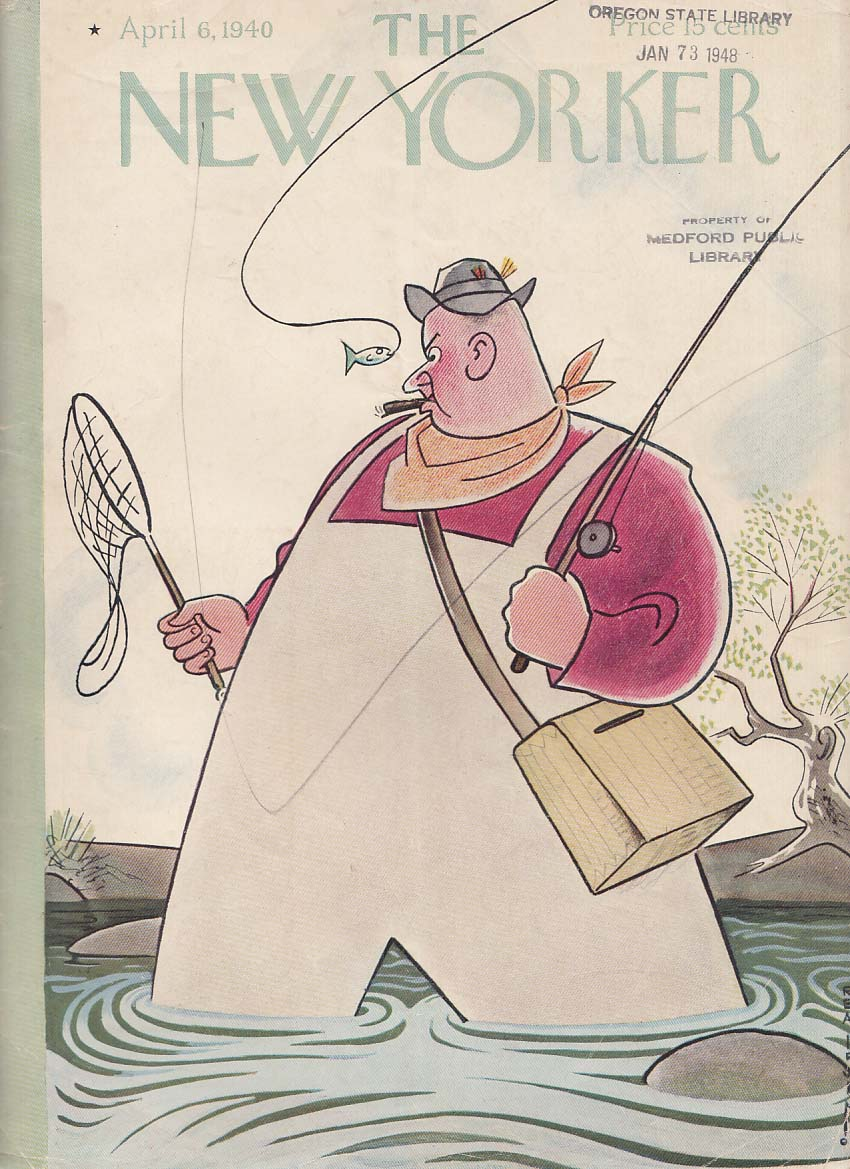 New Yorker cover Irvin fat fisherman 4/6 1940