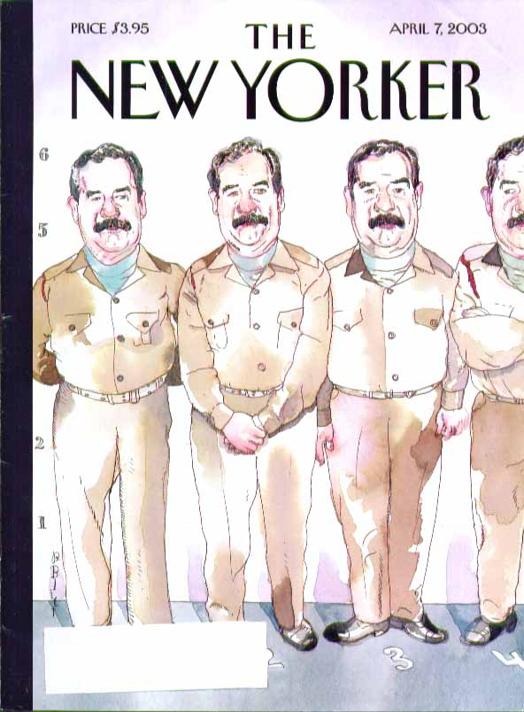 New Yorker cover Barry Blitt Saddam Hussein in police line-up 4/7 2003
