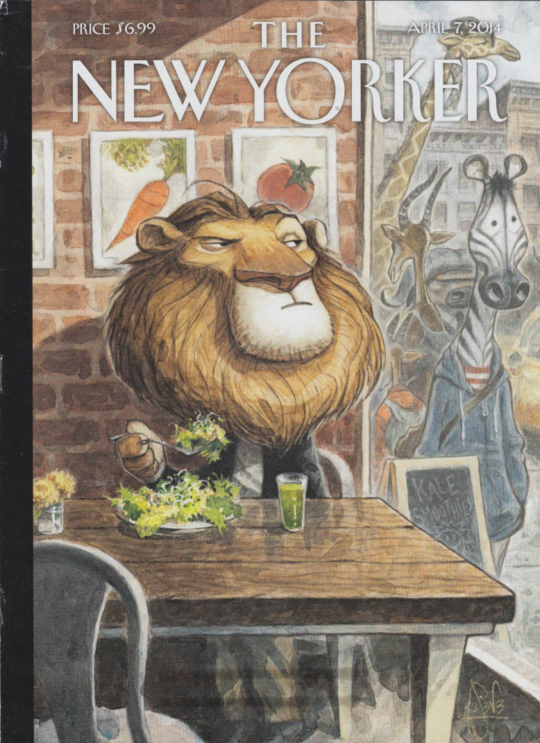 New Yorker cover 4/7 2014 Seve Glowering lion eats salad while zebras stroll