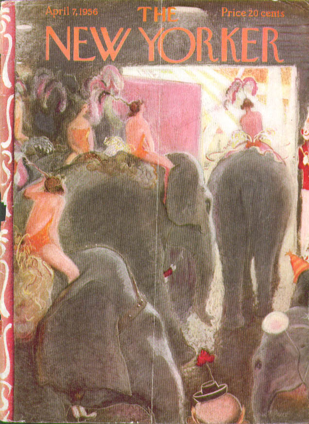 New Yorker cover Price Circus elephant parade 4/7 1956