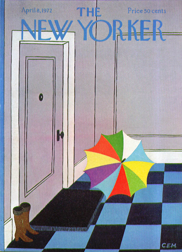Image for New Yorker cover Martin colorful umbrella 4/8 1972