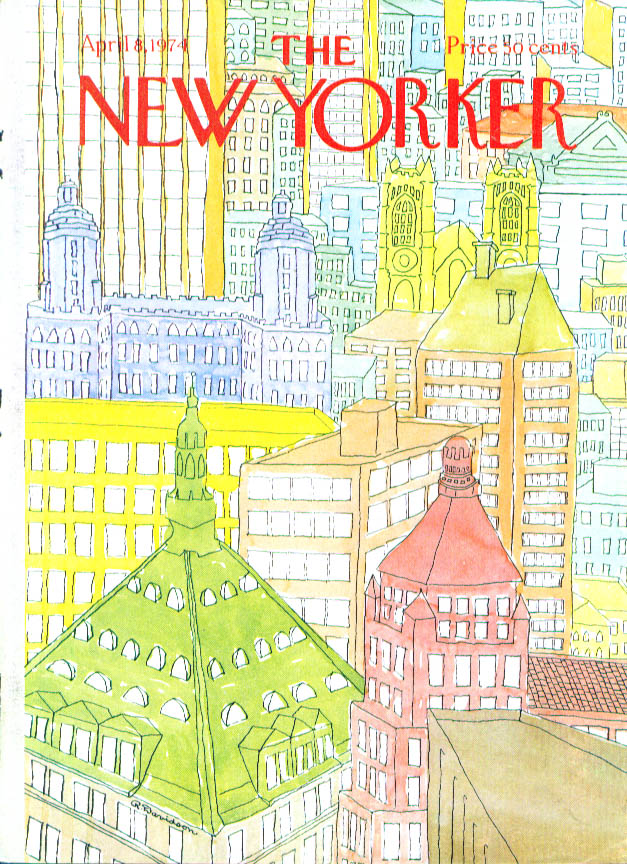 Image for New Yorker cover Davidson colorful rooftops 4/8 1974