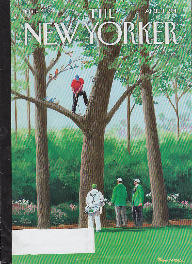 New Yorker cover 4/11 2011 McCall: golfer hits from crook in tree, birds watch