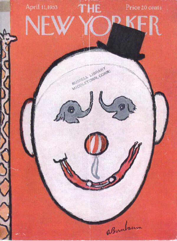 New Yorker cover Birnbaum clown face 4/11 1953