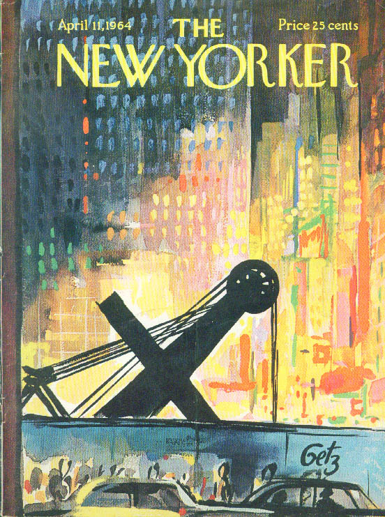 Image for New Yorker cover Getz steamshovel Times Square 4/11 1964