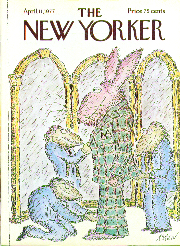 Image for New Yorker cover Koren fitting Eastern bunny 4/11 1977