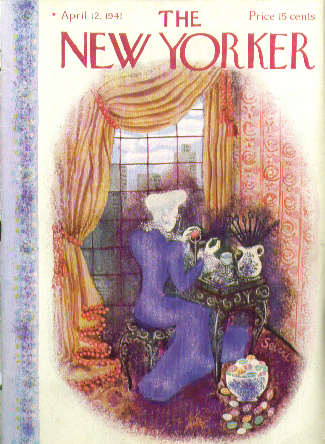 New Yorker cover Bolasni dowager decorates Easter egg 4/12 1941