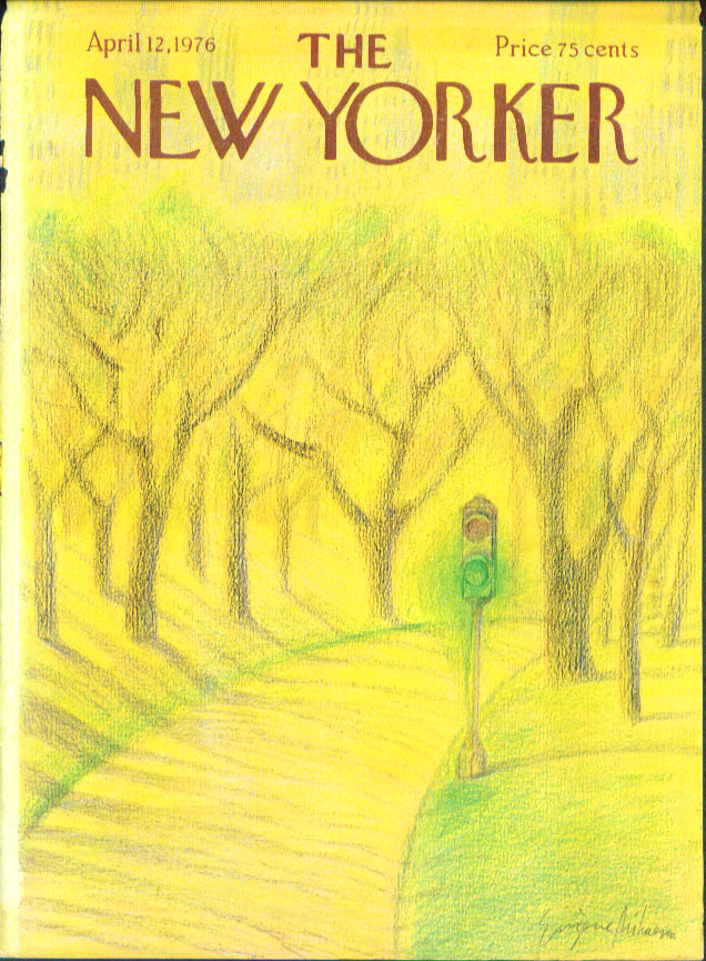 New Yorker cover Mihaesco park traffic light 4/12 1976