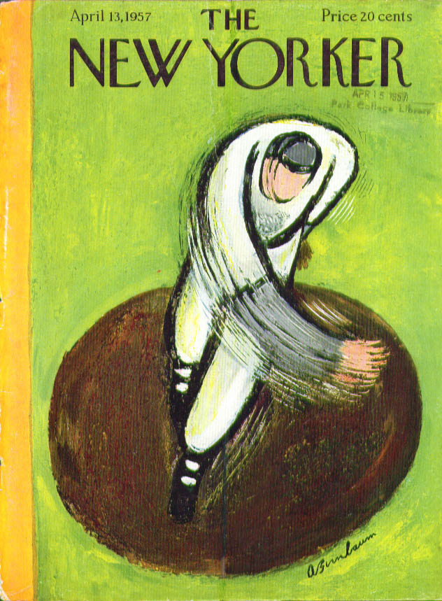 Image for New Yorker cover Birnbaum first pitch 4/13 1957