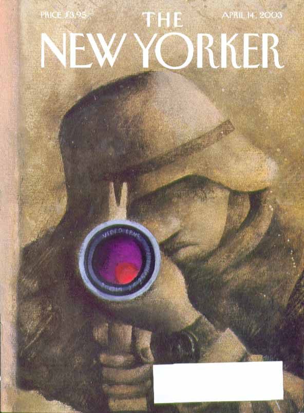 New Yorker cover Adrian Tomine soldier takes dead aim with video lens 4/14 2003