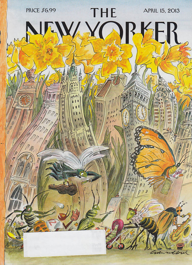 New Yorker cover 4/15 2013 Sorel: insects scurry through high-rise daffodils