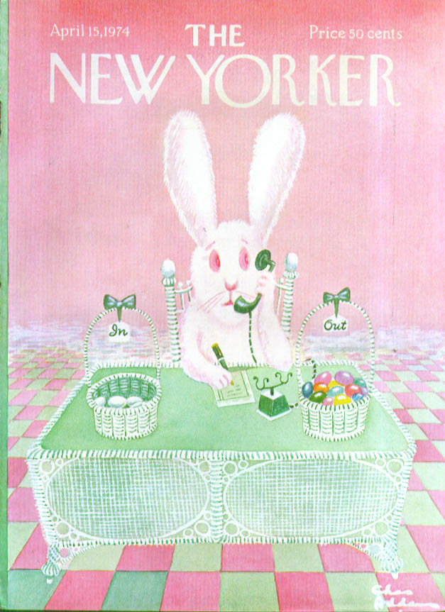 New Yorker cover Addams Easter bunny at desk 4/15 1974