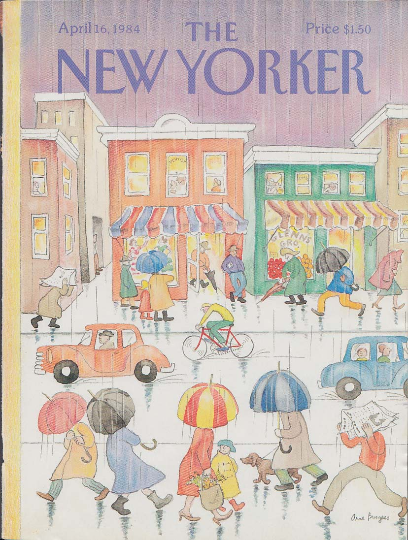 New Yorker cover 4/16 1984 Burgess April showers umbrellas small town street