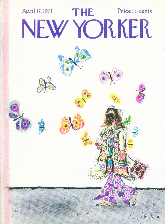 New Yorker cover Searle hippie & butterflies 4/17 1971