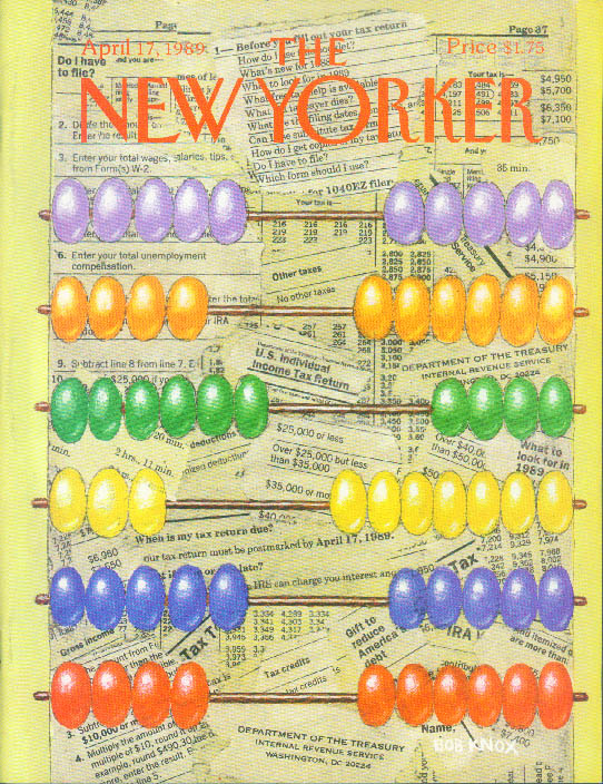 New Yorker cover Bob Knox income tax abacus 4/17 1989