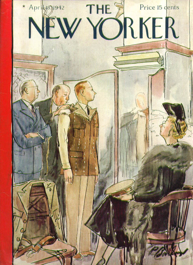 New Yorker cover Barlow uniform fitting 4/18 1942