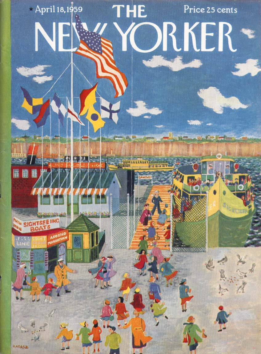 Image for New Yorker cover Karasz schoolgirls trip  4/18 1959